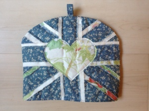 Heart and Union Jack tea cosy