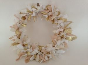 White, natural and gold fabric wreath,